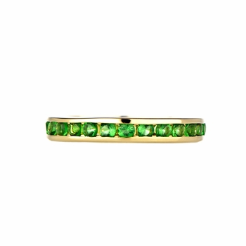 Kee's Goldtone Eternity Ring - Green CZ