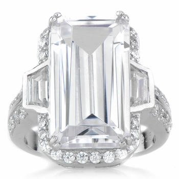 Kendall's Large Emerald Cut Cubic Zirconia Cocktail Ring