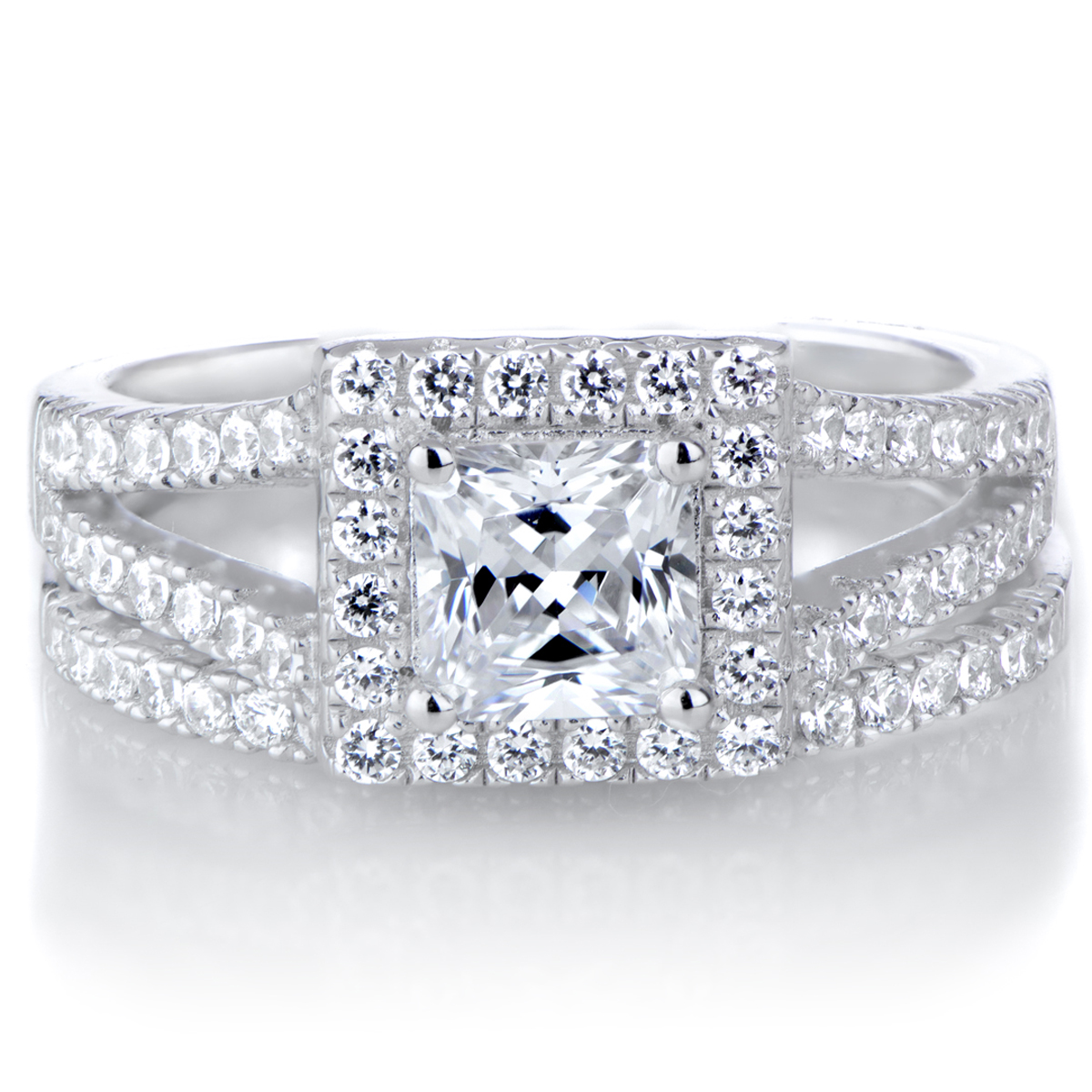 ketties princess cut cz halo wedding ring set - Halo Wedding Ring Set
