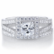 Kettie's Princess Cut CZ Halo Wedding Ring Set