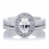 Kiara's Oval Cut CZ Halo Wedding Ring Set
