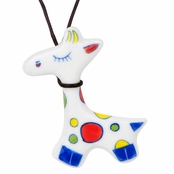 Kid Ceramic Giraffe Pendant with Adjustable Leather Necklace