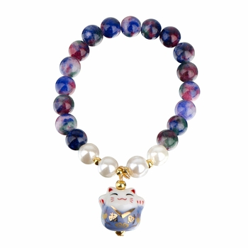 Lucky Cat Ceramic Beaded Friendship Bracelet - Blue & Multicolored