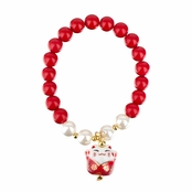 Lucky Cat Ceramic Beaded Friendship Bracelet - Red & White