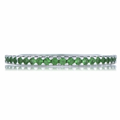 Kimber's Silvertone Eternity Ring - Green Cubic Zirconia