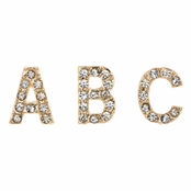 Kimberly's Goldtone Rhinestone Initial Stud Earrings