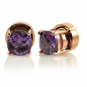 Kindle's Rose Goldtone Light Purple CZ Magnetic Earrings