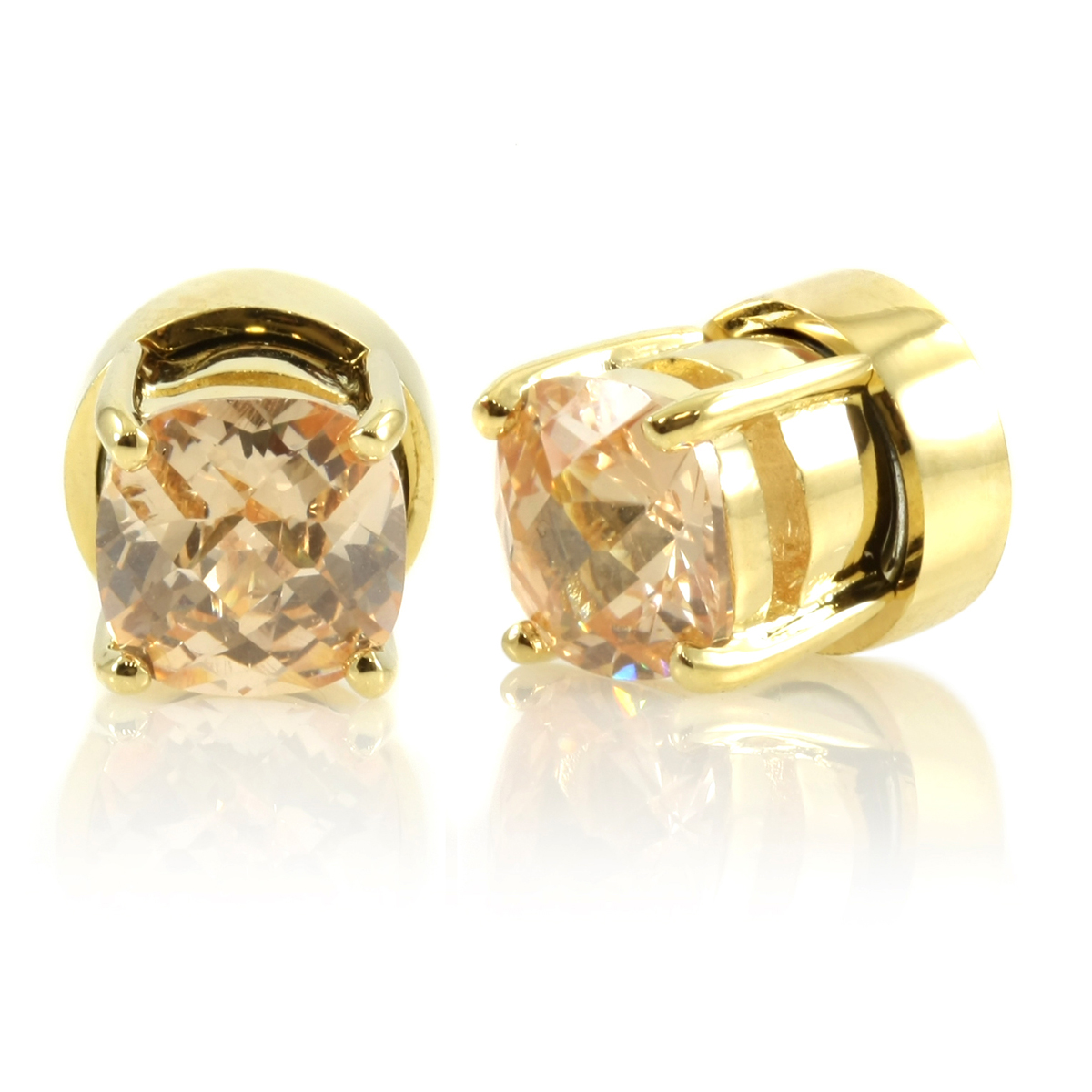 Kindle S Goldtone Champagne Cz Non Pierced Magnetic Earrings
