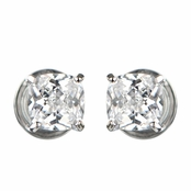 Kindle's Clear CZ Non Pierced Magnetic Earrings - Silvertone