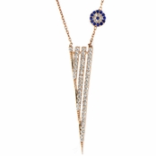 Kit's Rose Goldtone CZ Dagger Evil Eye Necklace