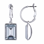 Kolina's Emerald Cut Aqua Crystal Dangle Earrings
