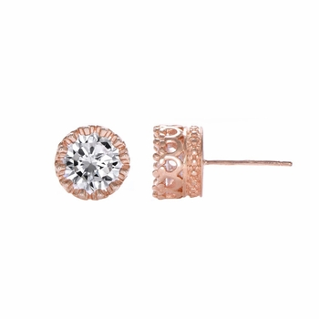 Kristine's Rose Goldtone 4 TCW Crown Setting CZ Stud Earrings
