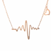 Lalia's Rose Goldtone Heartbeat Charm Necklace