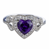 Lara's Imitation Amethyst Birthstone Heart Ring