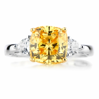 LaRhonda's Vintage Cushion Cut Canary CZ Ring