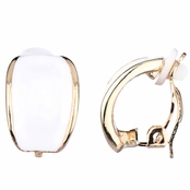 Larissa's White Half Hoop Clip On Earrings