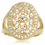 Leeva's CZ Wedding Ring - Goldtone