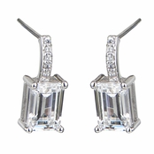 Leialee's 2 TCW Emerald Step Cut CZ Earrings