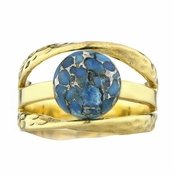 Leigh's Blue Stone Three Band Goldtone Ring