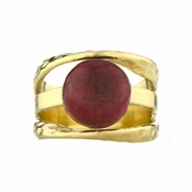 Leigh's Red Stone Three Band Goldtone Ring