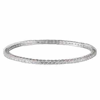 Leiko's Round Cut CZ Bangle Bracelet - 8 Inches