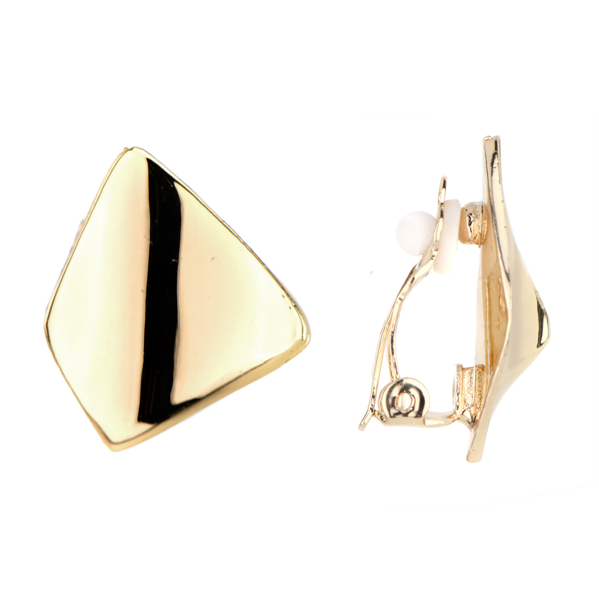 lena s goldtone modern clip on earrings