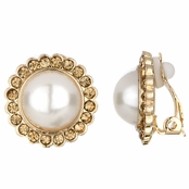 Leonie's Imitation Pearl Gold Button Clip On Earrings