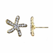 Leslee's Goldtone Rhinestone Starfish Stud Earrings