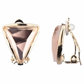 Lia's Gold Tone Triangle Clip On Earrings - Champagne