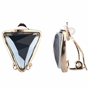 Lia's Goldtoneen Triangle Clip On Earrings - Smokey Grey