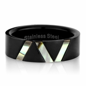 Liam's Black Stainless Steel Ring with Simulated Shell Inlay