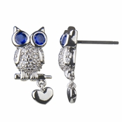 Liam's Blue-Eyed Owl CZ Earrings