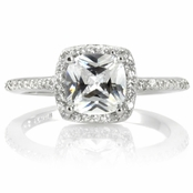 Liezel's CZ Halo Cushion Cut Engagement Ring
