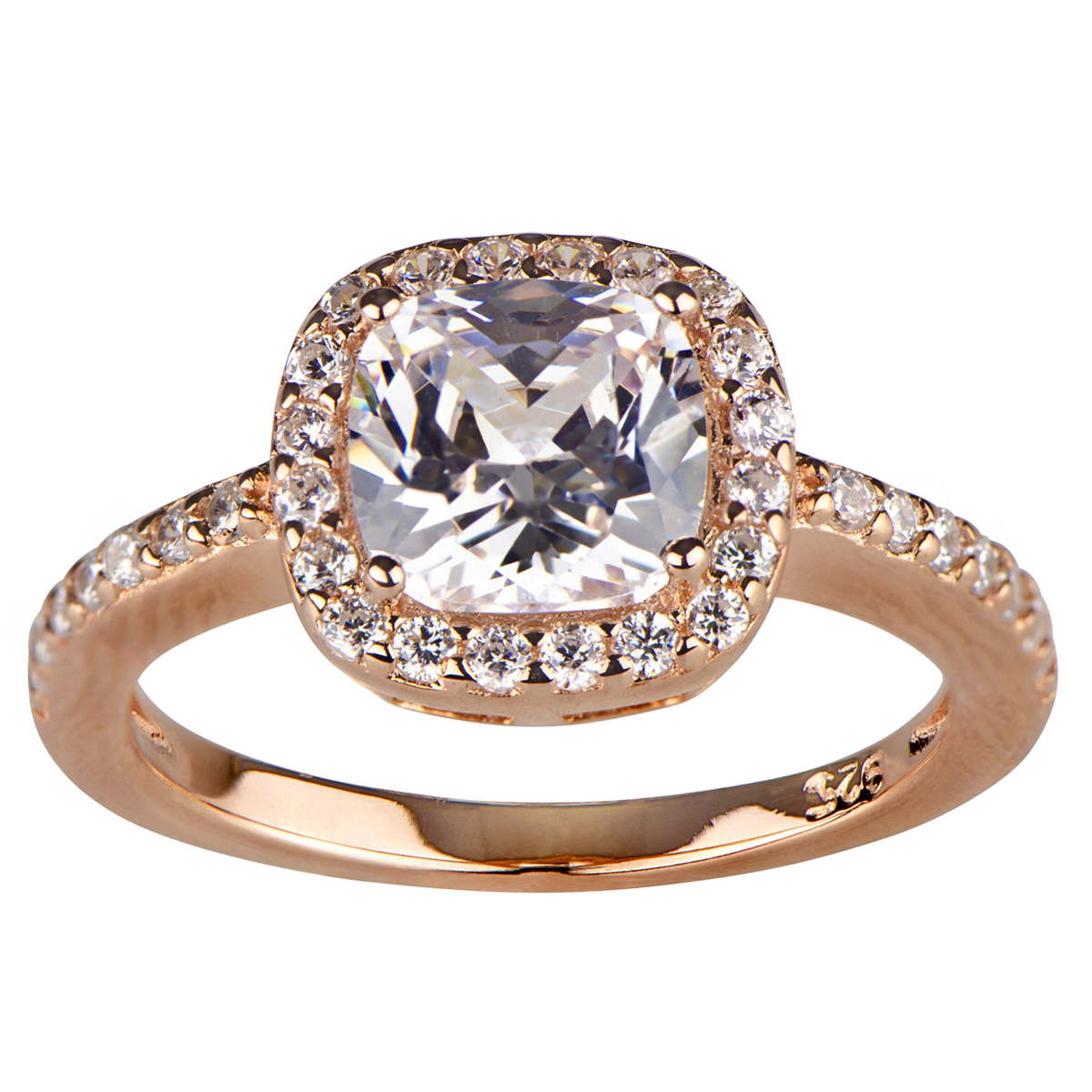 liezels cz halo cushion cut rose gold engagement ring - Wedding Rings Rose Gold
