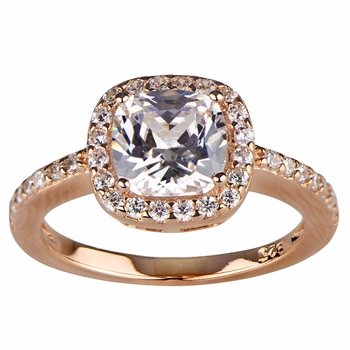 Liezel's CZ Halo Cushion Cut Rose Gold Engagement Ring