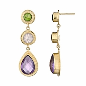 Lil's Drop Earrings - Green CZ, Pink CZ, Purple CZ