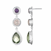 Lil's Drop Earrings - Purple CZ, Green CZ, Pink CZ