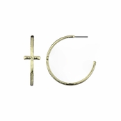 Lisa's Goldtone Cross Hoop Earrings - 1.5 in