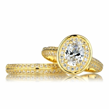 Lisa's Goldtone Halo Oval Cut CZ Wedding Ring Set