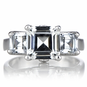 Lisa's Three Stone Asscher Cut CZ Ring
