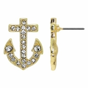 Liz's Rhinestone Anchor Stud Earrings - Goldtone
