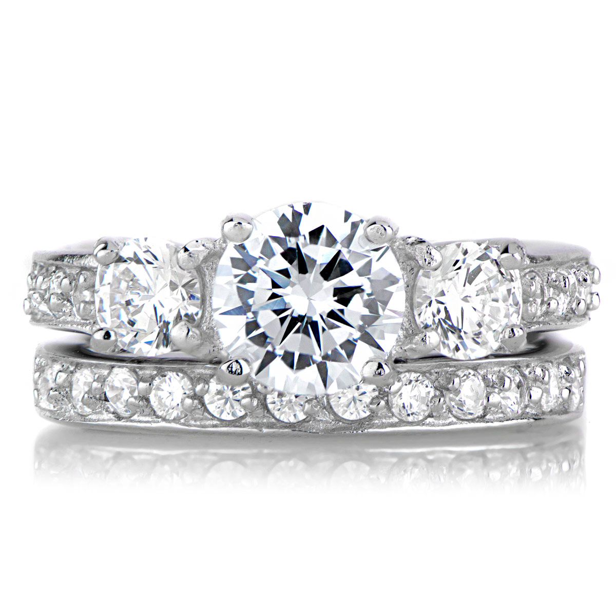 lokis 3 stone cz wedding ring set - Fake Wedding Ring