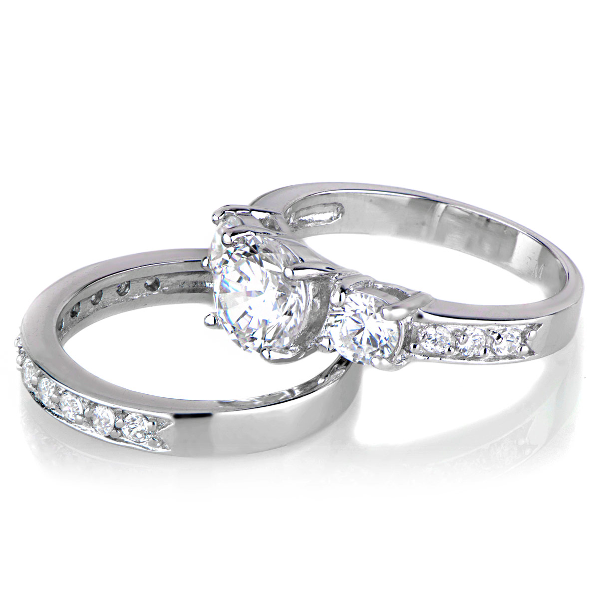lokis 3 stone cz wedding ring set - Cubic Zirconia Wedding Rings That Look Real
