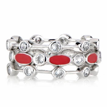 Loraine's CZ & Enamel Eternity Ring Trio - Red