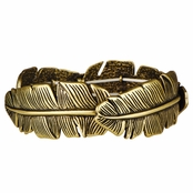 Lori's Goldtone Stretchable Feather Bracelet