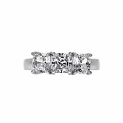 Luanna's Past, Present, Future Three Stone Cushion Cut CZ Ring