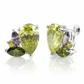 Lynda's CZ Screwback Earrings - Green