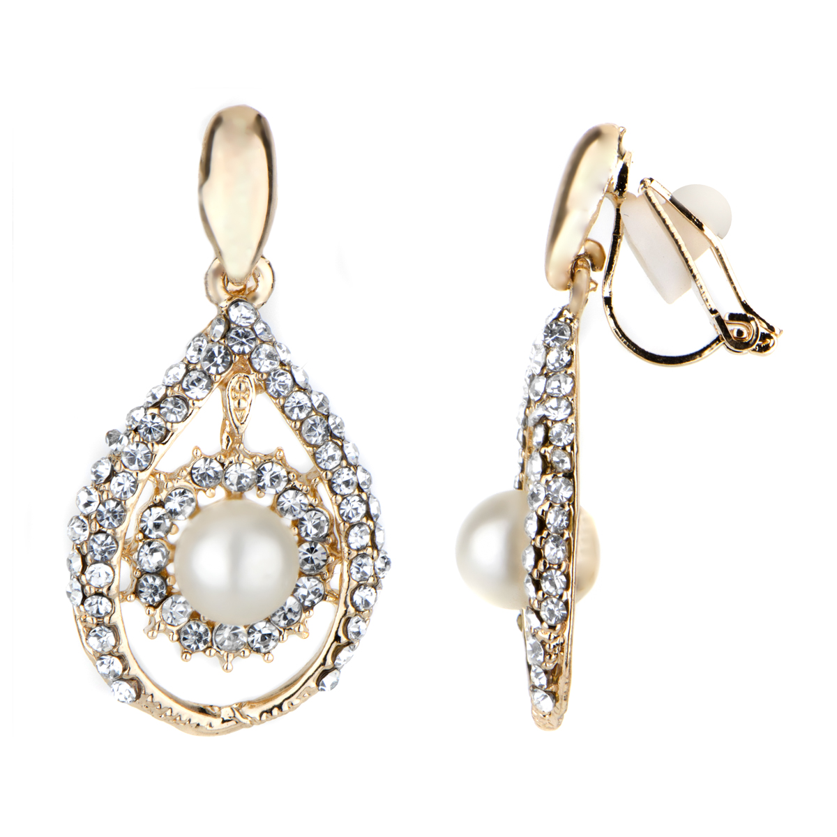 Madeline's Fancy Goldtone Imitation Pearl Tear Drop Clip On Earrings Roll  Off Image To Close Zoom Window