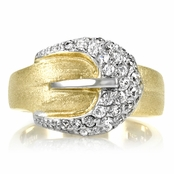 Madge's Goldtone Pave CZ Buckle Ring