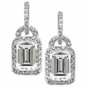 Maia's CZ Dangle Earrings - Emerald Step Cut